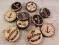 Preview: Maritime Holz Ohrringe Button rund Anker anchor