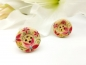 Preview: Blumen Knopf Ohrstecker Holz Button flower