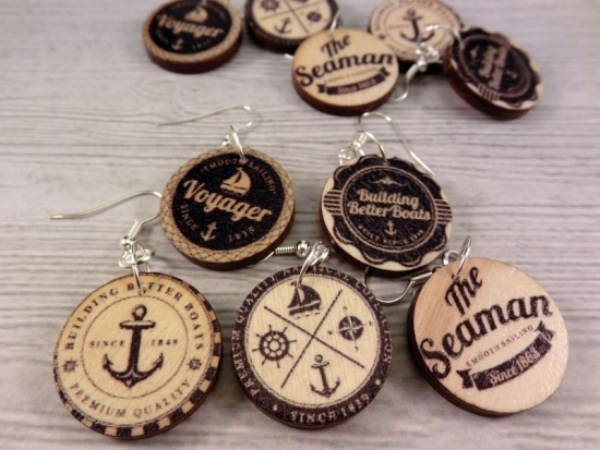 Maritime Holz Ohrringe Button rund Anker anchor