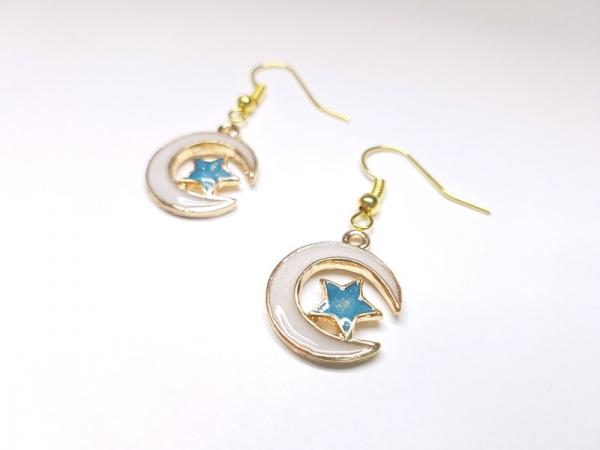 goldfarben mit blauem Kristall Mond /& Stern Ohrringe